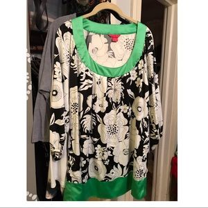 Silky Black, White,Green 3 quarter length Top